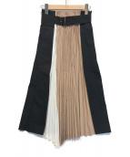 ()の古着「プリーツ切替スカート」|ブラウン×ブラック