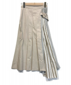 ()の古着「プリーツ切替スカート」|ベージュ×ホワイト