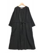 ()の古着「テンセルリネンガウンコート」|ブラック