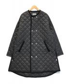 ()の古着「ノーカラーキルティングコート」|ブラック