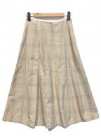 GALERIE VIE(ギャルリーヴィー)の古着「コットンシルクアシンメトリーミディアムスカート」 ベージュ