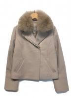 Apuweiser-riche(アプワイザーリッシェ)の古着「ファー衿ウールライダースジャケット」|ピンク