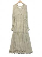 ()の古着「SHIRRING PLEATS DRESS」|ベージュ