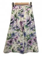 TIARA(ティアラ)の古着「グログラン大きな花柄プリントフレアスカート」|パープル