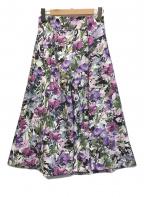 TIARA(ティアラ)の古着「ペインティングフラワータックフレアスカート」|パープル