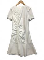 ()の古着「ドロスト半袖カットドレス」|ホワイト