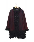 LANVIN COLLECTION(ランバンコレクション)の古着「チュールコート」|ブラック×レッド