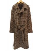 TAGLIATORE(タリアトーレ)の古着「千鳥格子ダブルコート」|ブラウン