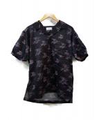 STUDIO SEVEN(スタジオ セブン)の古着「フラミンゴ柄オープンカラーシャツ」|ブラック