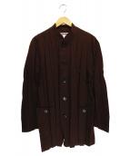 ISSEY MIYAKE(イッセイミヤケ)の古着「ストライプシャツジャケット」|ブラック×レッド