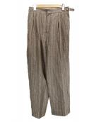 H BEAUTY&YOUTH(エイチ ビューティアンドユース)の古着「STRIPE BELTED 2P PANTS」|ブラウン