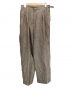 H BEAUTY&YOUTH()の古着「STRIPE BELTED 2P PANTS」|ブラウン