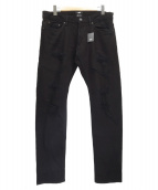 TMT(ティーエムティー)の古着「STRETCH GRUNGE-REPEIR DENIM 5P」|ブラック