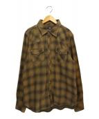 TMT(ティーエムティー)の古着「L/SL W GAZE OMBRE CHECK SHIRTS」|ブラウン