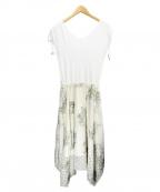 GRACE CONTINENTAL(グレースコンチネンタル)の古着「フラワー刺繍フレアニットワンピース」 ホワイト