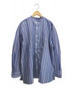 ISSEY MIYAKE(イッセイミヤケ)の古着「オーバーサイズストライプバンドカラーシャツ」|ブルー