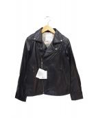 QUINOA BOUTIQUE(キヌアブティック)の古着「シープスキンライダースジャケット」|ブラック