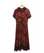 EmiriaWiz(エミリアウィズ)の古着「ロングレースシャツワンピース」|ボルドー