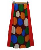 PLEATS PLEASE(プリーツプリーズ)の古着「プリーツスカート」|オレンジ×ブラウン