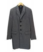 Paul Smith London(ポールスミスロンドン)の古着「ストライプウールチェスターコート」|グレー