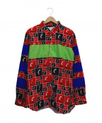 COMME des GARCONS SHIRT BOY(コムデギャルソンシャツ ボーイ)の古着「総柄シャツ」 ブラック×レッド