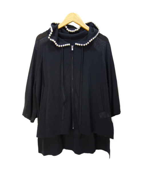 GRACE CLASS(グレースクラス)GRACE CLASS (グレースクラス) パールニットフーディー ブラック サイズ:36の古着・服飾アイテム