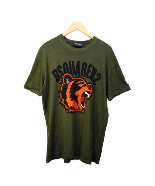 DSQUARED2(ディースクエアード)DSQUARED2 (ディースクエアード) タイガープリントTシャツ オリーブ サイズ:L S74GD0584 S21600の古着・服飾アイテム