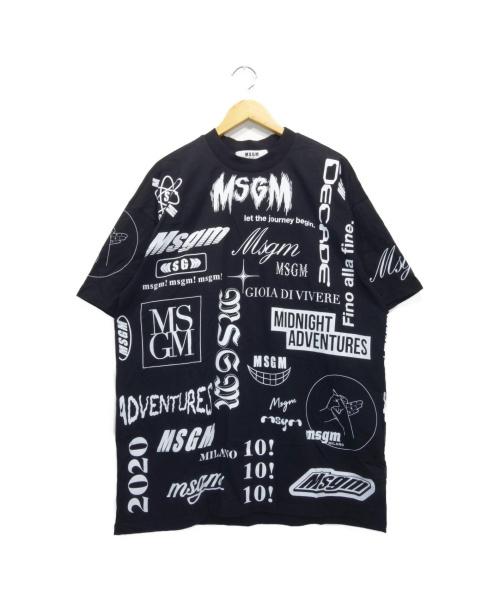 MSGM(エムエスジーエム)MSGM (エムエスジーエム) 総ロゴプリントTシャツ ブラック サイズ:L 20SSの古着・服飾アイテム