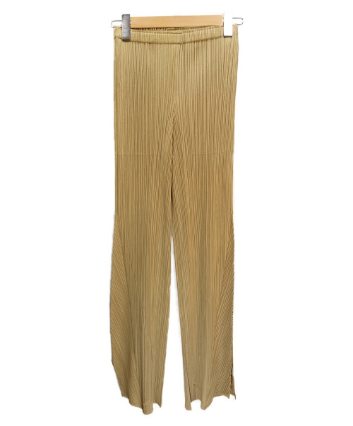 PLEATS PLEASE(プリーツプリーズ)PLEATS PLEASE (プリーツプリーズ) 裾バイヤスプリーツパンツ ベージュ サイズ:3  PP71-JF412の古着・服飾アイテム