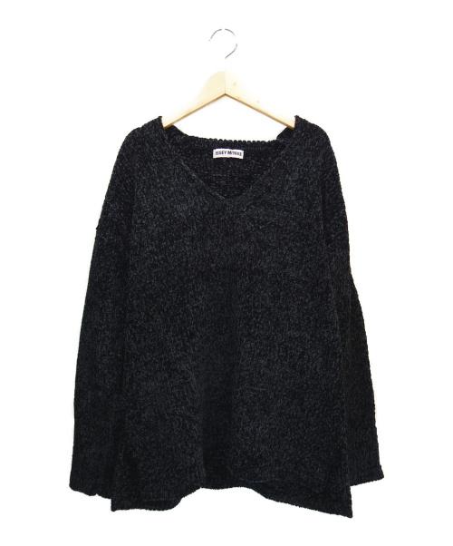 ISSEY MIYAKE(イッセイミヤケ)ISSEY MIYAKE (イッセイミヤケ) ヴィンテージシルク混Vネックニット ブラック サイズ:Mの古着・服飾アイテム