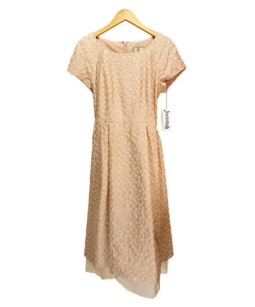 Jocomomola(ホコモモラ)Jocomomola (ホコモモラ) FLORESシャンタン刺繍ワンピース ベージュ サイズ:Lの古着・服飾アイテム