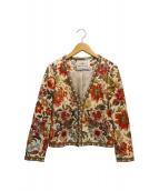 GRACE CONTINENTAL(グレースコンチネンタル)の古着「ノーカラー花柄ジャケット」|レッド