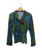 LEONARD(レオナール)の古着「チェックプリントシャツ」|グリーン
