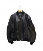 "shott(ショット)の古着「Leather Flight Jacket ""MA-1 19」|ブラック"