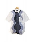 ()の古着「切替半袖シャツ」|ホワイト×グレー