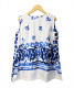 45R(フォーティファイブアール)の古着「ツヤサテン染付ノースリーブブラウス」|ホワイト×ブルー