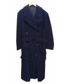 YOHJI YAMAMOTO(ヨウジヤマモト)の古着「ベルテッドウールコート」|ネイビー