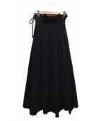 YOHJI YAMAMOTO(ヨウジヤマモト)の古着「シルク切替ラップウールギャバスカート」|ブラック
