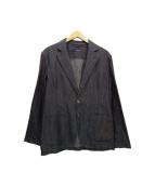 LARDINI(ラルディーニ)の古着「製品洗いコットン・リネンヘリンボーンBbテーラードジャケット」|インディゴ