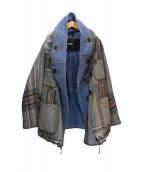 KAPITAL(キャピタル)の古着「ウール二重織BIGチェックリングコート」|ブルー