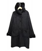 BEAUTY&YOUTH(ビューティーアンドユース)の古着「フェイクムートンフードロングコート」|ブラック