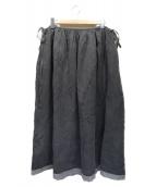 Ys(ワイズ)の古着「リネンシルク顔料染め切替デザインスカート」|ブラック