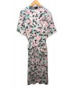 ()の古着「 フラワープリントシャツワンピース」|ピンク