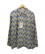 CALEE(キャリー)の古着「Allover paisley pattern L/S sh」|ブルー