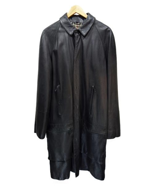 BURBERRY LONDON(バーバリーロンドン)BURBERRY LONDON (バーバリーロンドン) レザーコート ブラック サイズ:52の古着・服飾アイテム