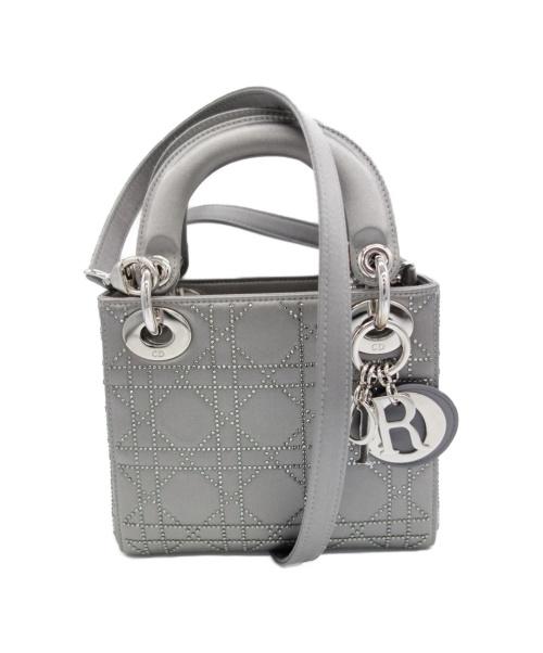 Christian Dior(クリスチャン ディオール)Christian Dior (クリスチャンディオール) 2WAYバッグ グレー CNR41528 サテン 04-MA-0123 LADY DIORの古着・服飾アイテム