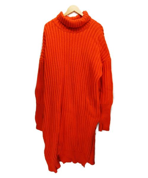 ADAWAS(アダワス)ADAWAS (アダワス) オーバーサイズウールニットワンピース オレンジ サイズ:38 ADWS-701-49の古着・服飾アイテム