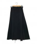 upper hights()の古着「コーデュロイロングスカート」 ブラック
