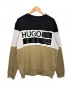 BOSS HUGO BOSS(ボスヒューゴボス)の古着「Denali フリーススウェット」|ブラック×ベージュ