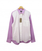 COMME des GARCONS HommePlus(コムデギャルソン オムプリュス)の古着「ストライプシャツ」|ピンク